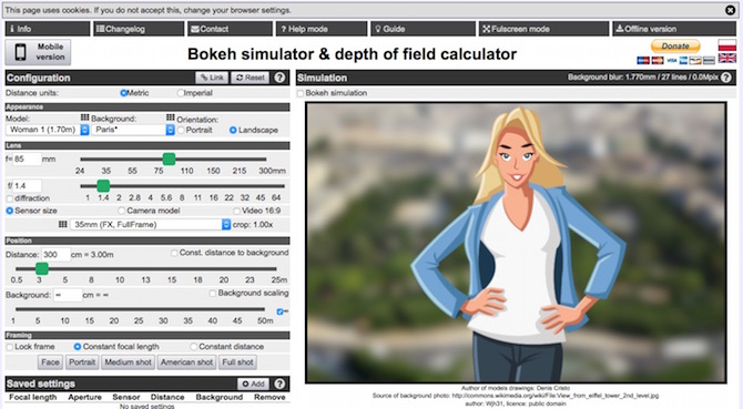 Bokeh simulator/DOF calculator