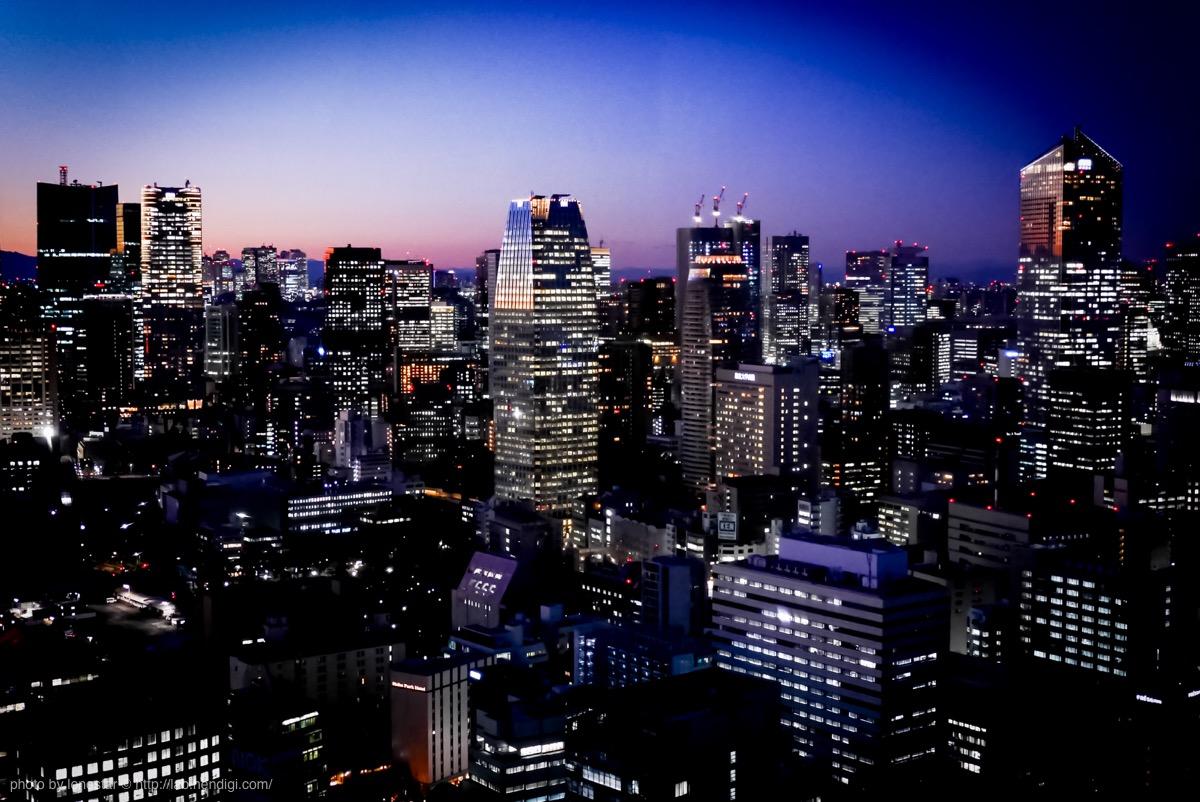 東京タワー 夜景 世界貿易センタービル