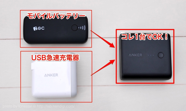 USB急速充電器 モバイルバッテリー