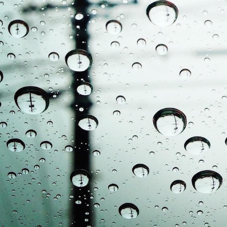 雨粒 マクロ