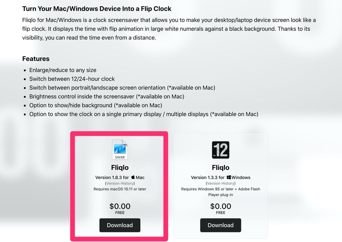 Mac パタパタ時計 スクリーンセーバー
